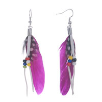 Earrings - fluttering purple feather dangle tassel beads earrings Image.