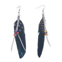 Earrings - fluttering black feather dangle tassel beads earrings Image.