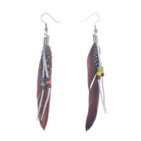 Earrings - fluttering brown feather dangle tassel beads earrings Image.