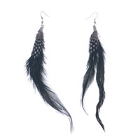 Earrings - fine black trendy feather dangle black with white dots earrings Image.
