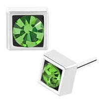 Earrings - round peridot green cz cubic zirconia crystal cube stud earrings Image.