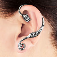 Earrings - gothic temptation antique jaguar animal ear wrap stud cuff earring left ear Image.