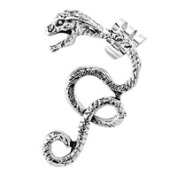 New Arrivals - gothic temptation antique dragon animal ear wrap stud cuff earring left ear Image.