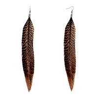 New Year Deals - brown feather drape earrings bohemian earrings for women Image.