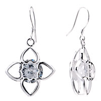 Earrings - facny flower april birthstone crystal dangle hook earrings jewelry Image.