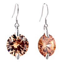 Earrings - round pure light smoked topaz crystal dangle earrings Image.
