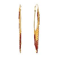 New Arrivals - golden plated italian dangle multi chain hoop earrings Image.