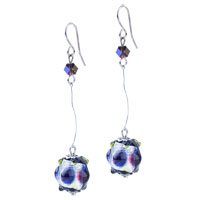 Murano Glass Jewelry - purple texture dots ball dangle earrings Image.