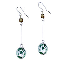 Murano Glass Jewelry - sterling silver intricate line green ball dangle earrings Image.