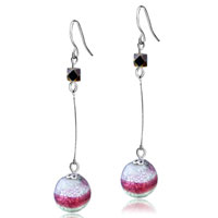 Murano Glass Jewelry - sterling silver red and ball dangle earrings Image.