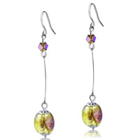 Murano Glass Jewelry - silver plated earrings purple crystal spots ball dangle earrings Image.