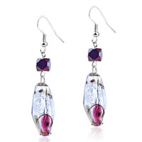 Murano Glass Jewelry - red and brown speckle translucent dangle silver tone hook earring Image.