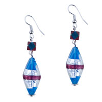 Murano Glass Jewelry - ocean blue and crimson stripes dangle silver tone hook earrings Image.