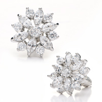 Earrings - clear crystal snowflake jewelry stud earrings Image.