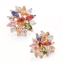 Earrings - 14 k gold plated bling floral colorful crystal stud glam earrings Image.