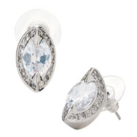 Earrings - fashion clear crystal berry shaped stud april birthstone earrings Image.