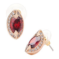 Earrings - red crystal berry shaped stud july birthstone elegant earrings Image.