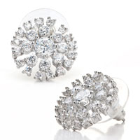 Earrings - sparkle clear crystal snowflake floral glam stud christmas jewelry earrings Image.
