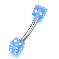 Body Jewelry - stainless steel curved barbell with deep sky blue dice eyebrow navel rings Image.
