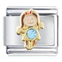 Italian Charms - march aquamarine color girl child baby birthstone italian charm Image.
