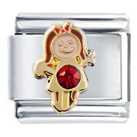 Italian Charms - october ruby red color girl child baby birthstone italian charm Image.