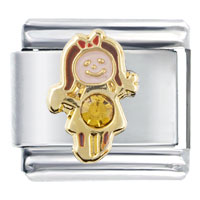 Italian Charms - november topaz color girl child baby birthstone italian charm Image.