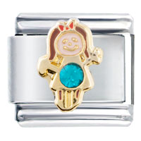 Italian Charms - december blue zircon color girl child baby birthstone italian charm Image.