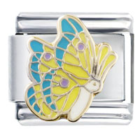 Italian Charms - yellow turquoise wing butterfly italian charm animal Image.