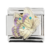 Italian Charms - yellow and pink wing butterfly insect animal italian charm Image.