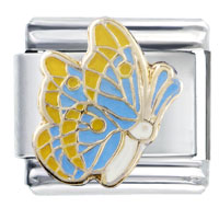 Italian Charms - yellow and blue wing butterfly insect animal italian charm Image.