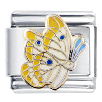Italian Charms - yellow and pearl wing butterfly insect animal italian charm Image.