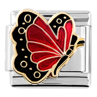 Italian Charms - january garnet color butterfly birthstone insect animal italian charm Image.
