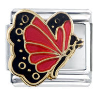 Italian Charms - july ruby color butterfly birthstone insect animal italian charm Image.