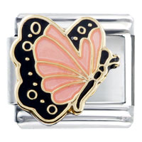 Italian Charms - october pink tourmaline color butterfly birthstone insect animal italian charm Image.
