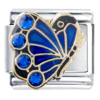 Italian Charms - september sapphire color crystal butterfly birthstone insect animal italian charm Image.