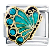 Italian Charms - december blue zircon color crystal butterfly birthstone insect animal italian charm Image.