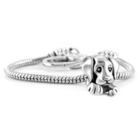 Bracelets - love sleepy cute puppy dog animal beads charm heart lobster clasp bracelet fit all brands charms beads Image.