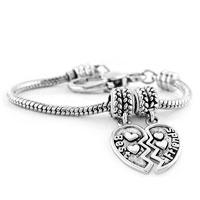 Bracelets - heart best friends dangle vintage flower spacer beads lobster clasp bracelet fit all brands charms beads Image.