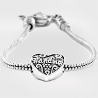 Bracelets - heart love grandma beads heart lobster clasp bracelet fit all brands charms beads Image.
