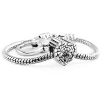 Bracelets - heart angel wing filigree antique vintage european love lover beads heart lobster clasp bracelet fit all brands charms beads Image.