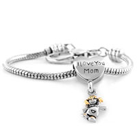 Bracelets - heart i love mom dangle happy baby girl love beads lobster clasp bracelet fit all brands charms beads Image.