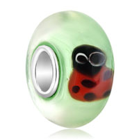 Sterling Silver Jewelry - prism spring lady bug murano glass beads charms bracelets fit all brands Image.
