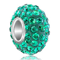 Sterling Silver Jewelry - birthstone charms emerald green may birthstone crystals ball bead sterling silver charm Image.