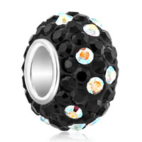Sterling Silver Jewelry - birthstone charms 925 sterling silver black & colorful crystal bead Image.