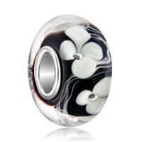 Sterling Silver Jewelry - 925  sterling silver white flower clover black fit all brands murano glass beads charms bracelets Image.