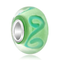 Sterling Silver Jewelry - 925  sterling silver peridot green swirls fit all brands murano glass beads charms bracelets Image.