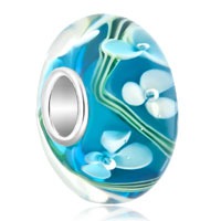 Sterling Silver Jewelry - 925  sterling silver white flower ocean blue murano glass beads charms bracelets fit all brands Image.
