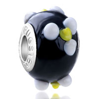 Charms Beads - white and yellow texture flower emily fit murano glass beads charms bracelets all brands Image.