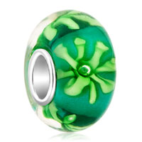 Charms Beads - pale green chrysanthemum fit murano glass beads charms bracelets all brands Image.