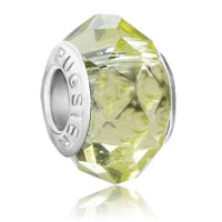 Charms Beads - peridot color silver faceted crystal fits murano glass beads charms bracelets fit all brands Image.